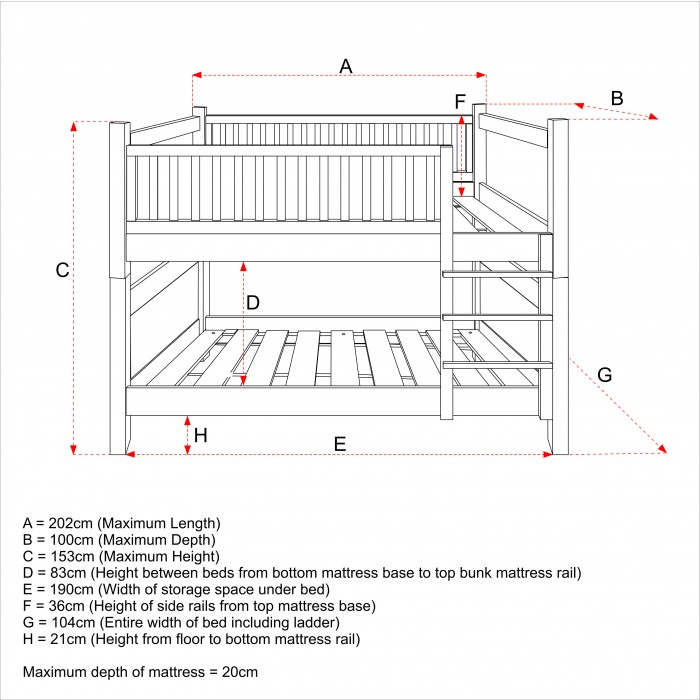Bunk Bed Dimensions Between Beds Roole