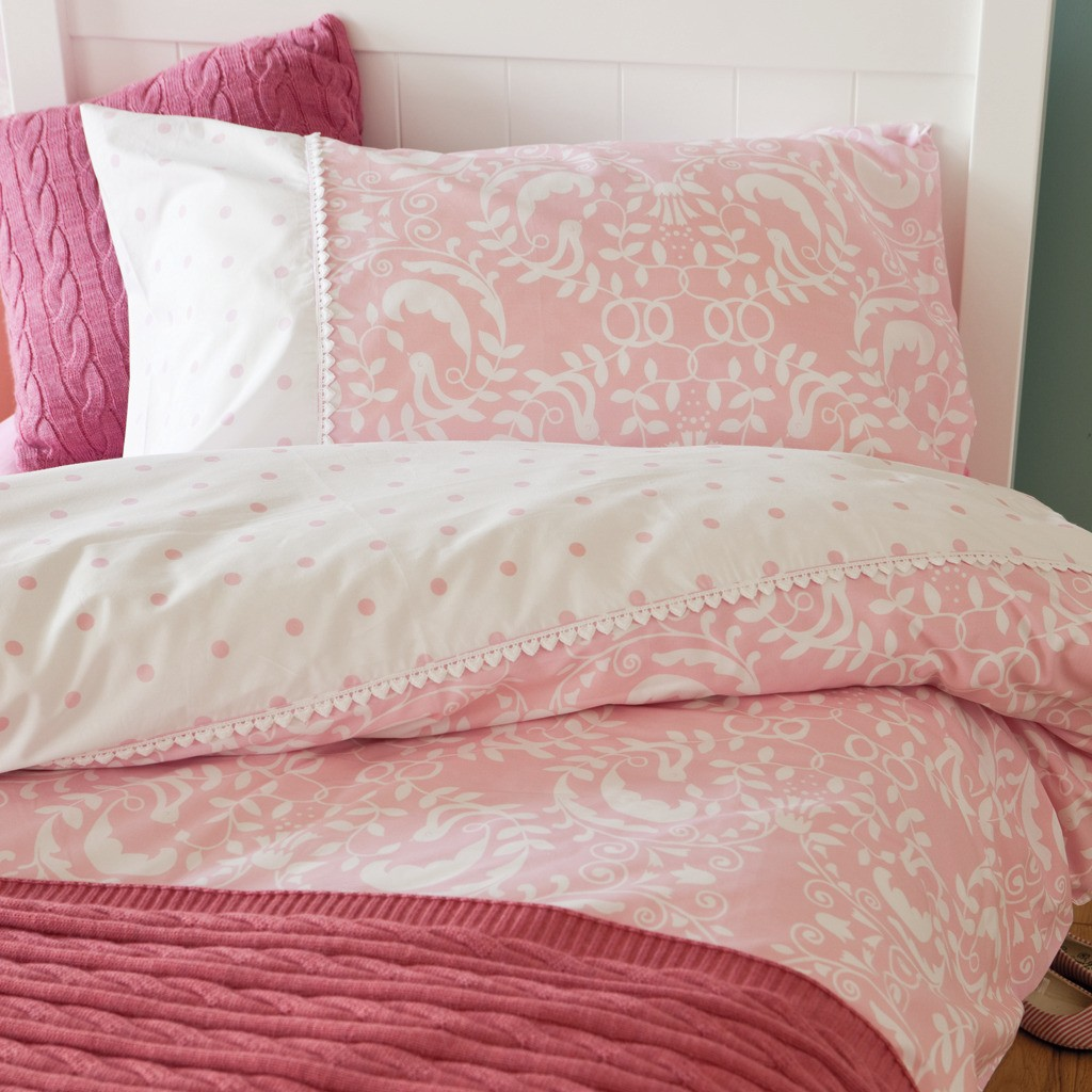 Pink and white damask bedding damask pink twin 2 pcs set from amazon