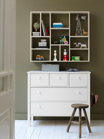 Wall Shelf With 11 Compartments Brushed White