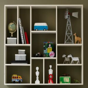 Wall Shelf with 11 Compartments - Brushed White