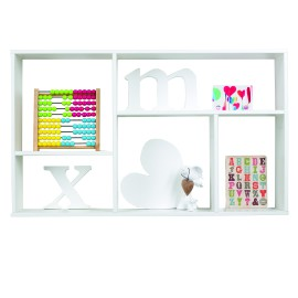 5 Compartment Wall Shelf, White