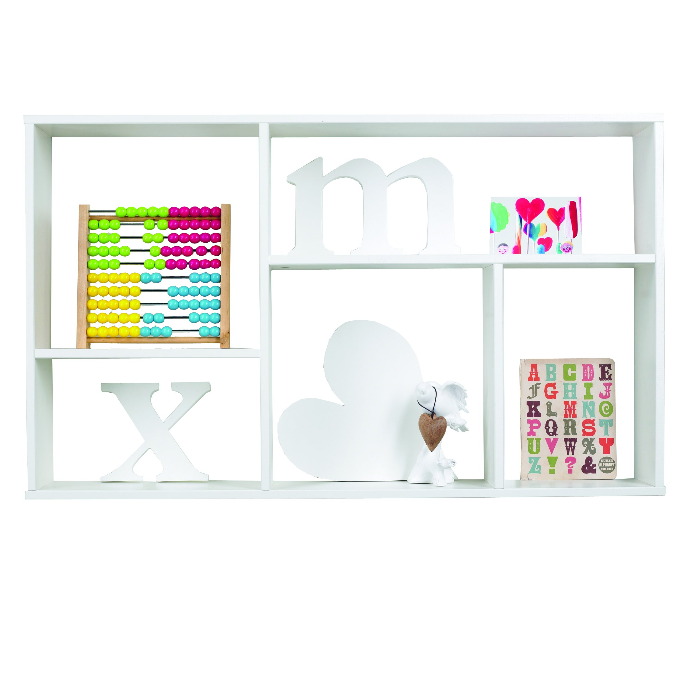 Wall Shelf with 5 Compartments - Brushed White