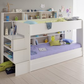 Anderson Bunk Bed with Underbed Sleepover Trundle for Boys and Girls Shared Spaces, White, Bunk with Storage