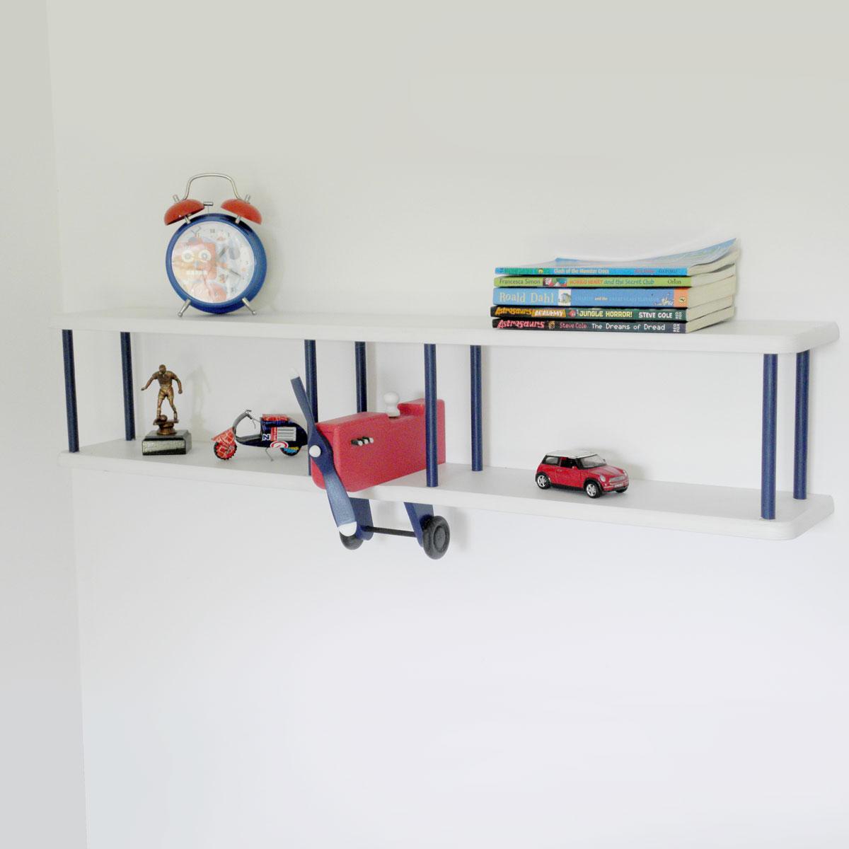 Bi-Plane Wall Shelf - Navy/Red/White