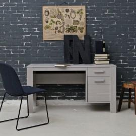 Dennis Desk Concrete Grey Solid Wood for Kids Furniture Study Homework