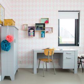 Dennis Desk for Kids Children Solid Wood Concrete Grey Furniture Study Homework