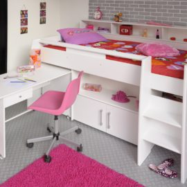 Logan Midsleeper Girls Room, White finish