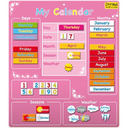 Magnetic My First Calendar - Pink