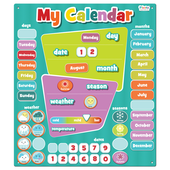 Magnetic My First Calendar - Aqua