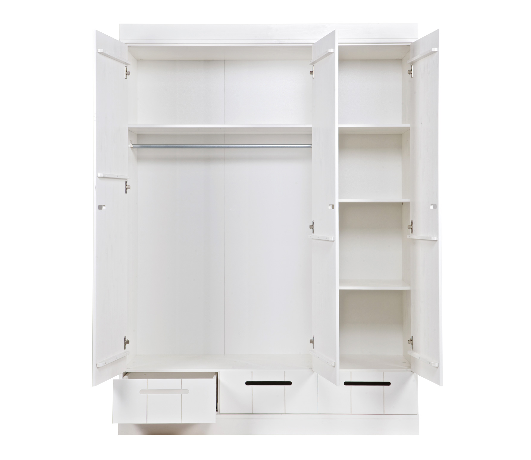 Connect 3 door locker wardrobe with 3 drawers standard interior nest designs - Grande armoire blanche ...