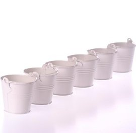 Set of 6 Mini Buckets - White