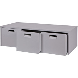 Chase Solid Wood Storage Bench for Kids, Grey