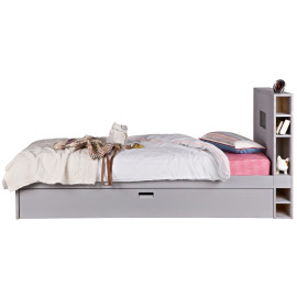 Chase Storage Bed with Underbed Trundle for Kids Solid Wood Grey