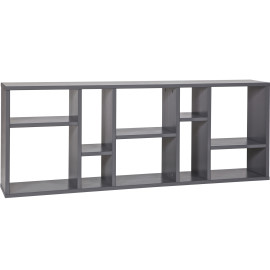 Horizon 10 Compartment Wall Shelf for Kids Storage Solid Wood Steel Grey