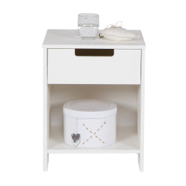 Jade Nightstand Solid Pine Wood White for Kids