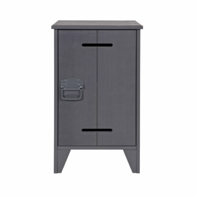 Locker Nightstand, Solid Wood - Steel Grey