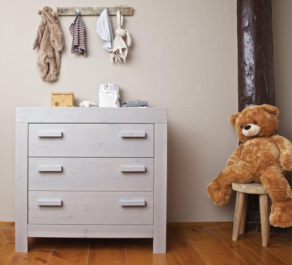 ... New Life Baby Changing Table Brushed Solid Pine Wood Pebble Grey For  Nurseries Lifestyle ...