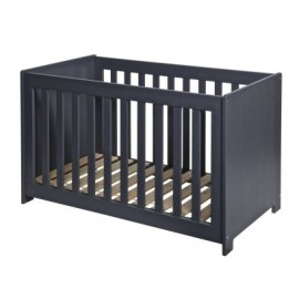New Life Baby Cot Brushed Solid Pine Steel Grey for Nursery
