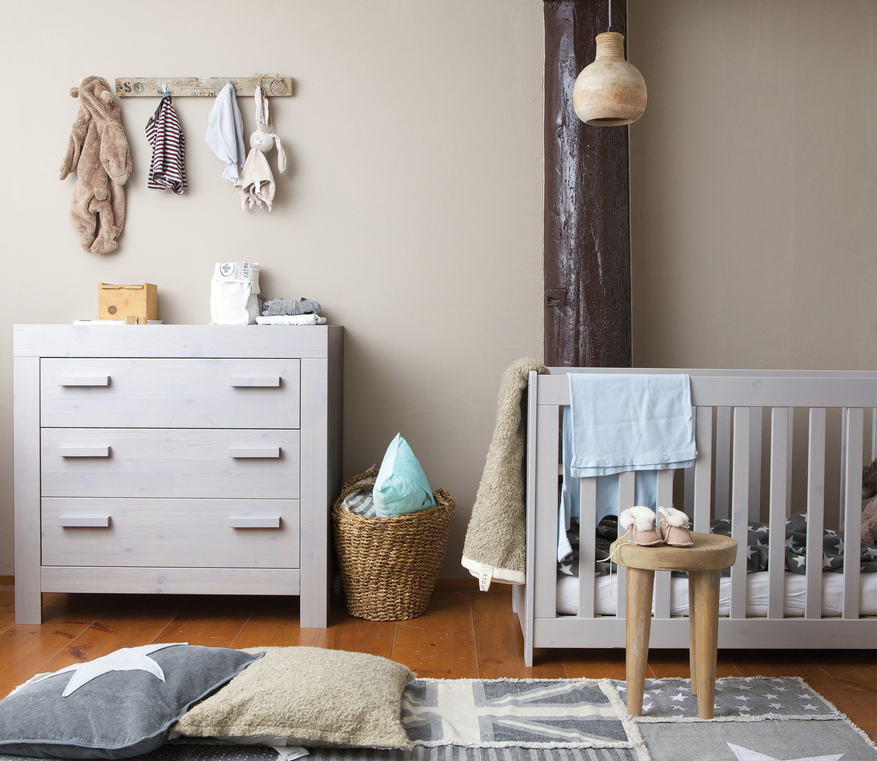 New Life Cot Brushed Pebble Grey