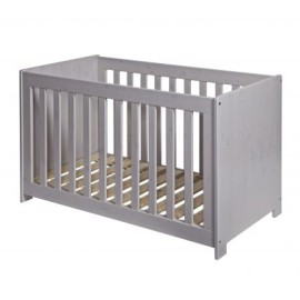 New Life Baby Cot Brushed Solid Pine Wood Pebble Grey for Nursery