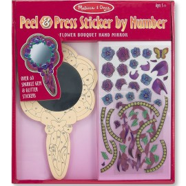 Peel and Press Sticker by Number Flower Bouquet Hand Mirror Arts and Crafts for Kids by Melissa and Doug