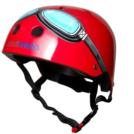 Red Goggles Safety Helmet for Kids Bikes, Ride Ons Skating