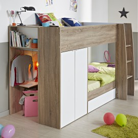 Ellio Bunk Bed with Integrated Storage for Kids Bedrooms White and Oak Shared Spaces Sleepovers