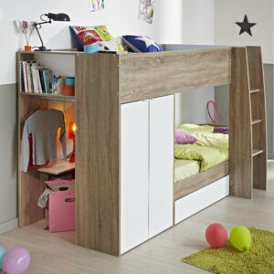 Ellio Bunk Bed - White with Dakota Oak Finish