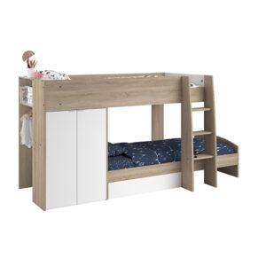 Ellio Bunk Bed - White with Dakota Oak Finish