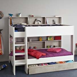 Taylor Bunk Bed for Children with Storage Shelving and Underbed Storage Drawers for Boys and Girls White