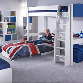 UNO S Highsleeper Bed Frame with Blue Headboards, Corner Desk and Chair Bed for Kids crop