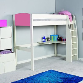 UNO S Highsleeper Bed Frame with Corner Desk Space Saving Bed for Kids, Pink