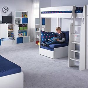 UNO S Highsleeper Bed (white headboards) Desk & Chair by STOMPA
