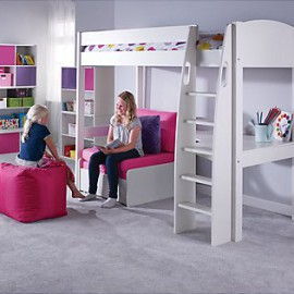 UNO S Highsleeper Bed Frame with Corner Desk and Chair Bed for Kids, Pink Girls crop
