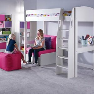 UNO S Highsleeper (White headboards), Desk & Chair Bed by STOMPA
