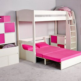 UNO S Highsleeper Bed Frame with Sofa Bed for Kids, Pink Cushion and Pink Headboards crop
