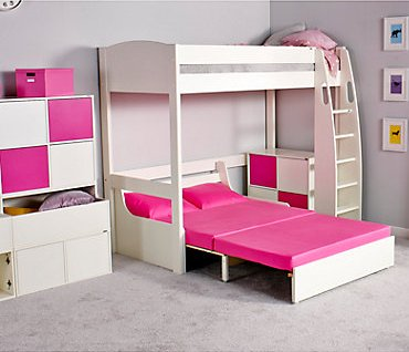 UNO S High Sleeper Bed (white headboards) & Sofa Bed by STOMPA