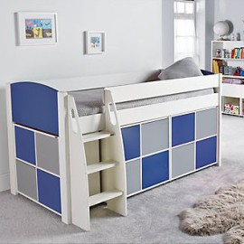 UNO S Midsleeper Bed Frame with 3 Multi Cube Storage Units with doors for Children, Blue and Grey crop