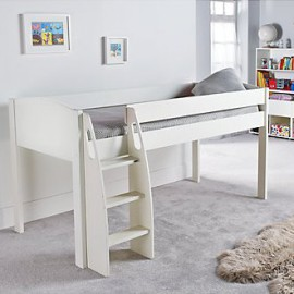 UNOS Midsleeper Bed Frame, White by Stompa for Children Boys and Girls crop