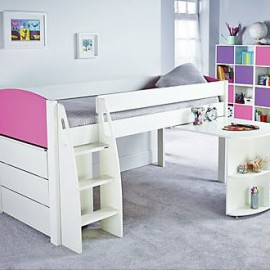 UNOS Midsleeper Bed Frame with pull-out desk and 3 drawer chest, Pink by Stompa for Kids Girls crop