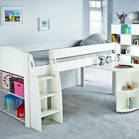 UNOS Midsleeper Bed Frame with pull-out desk and bookcase, White by Stompa for Kids Boys and Girls crop