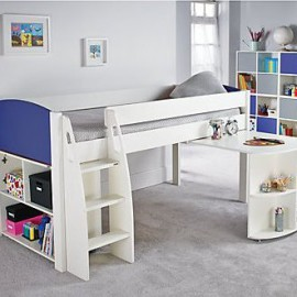 UNOS Midsleeper Bed Frame with pull-out desk and multi storage cube unit, Blue by Stompa for Kids crop