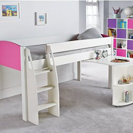 UNOS Midsleeper Bed with Pull-out Desk, Pink by Stompa for Children Girls crop