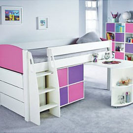 Uno S Mid-Sleeper Bed with Pull-Out Desk, 3 Drawer Chest and 4 Door Cube Unit, Pink and Purple for Kids Boys by Stompa crop