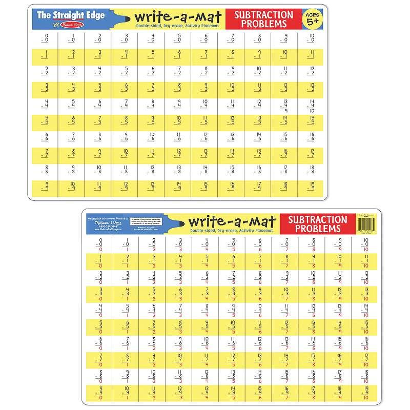 Write-A-Mat Subtraction Problems
