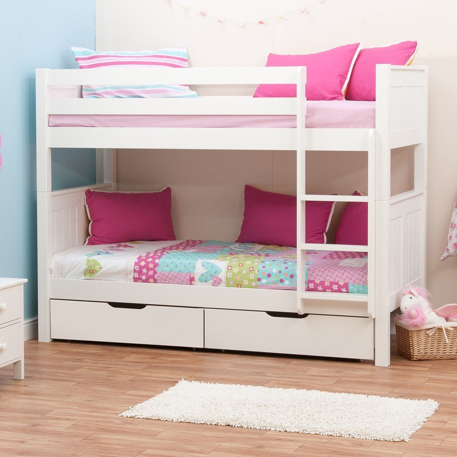 classic bunk bed with underbed drawers by stompa 11932 | classic bunk bed stompa kids bedroom kidsroom children solid wood furniture white