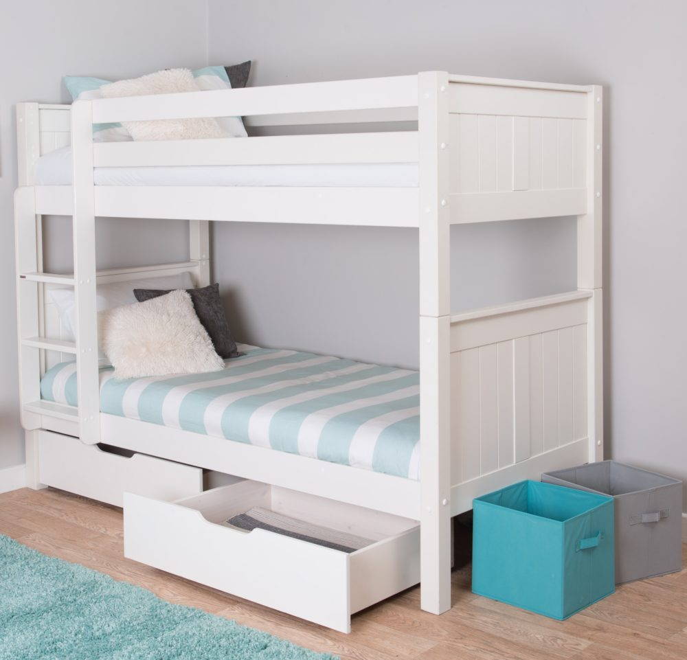 white bed with drawers classic bunk bed with underbed drawers by stompa 17810