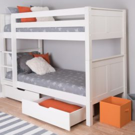 Classic Bunk Bed for Kids Underbed Storage Drawers Tongue and Groove Bedroom Children White Solid Wood by Stompa