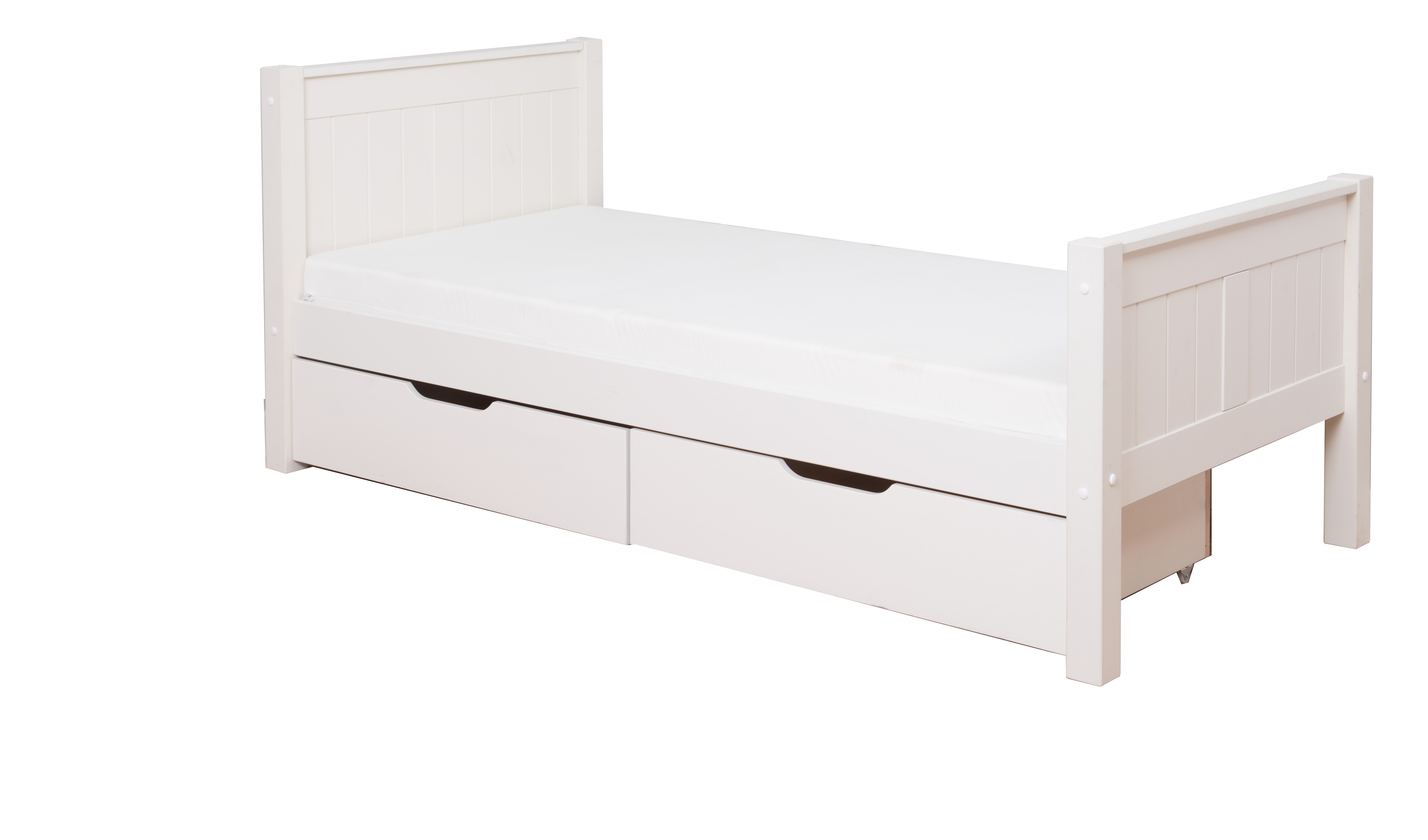 Classic single bed with underbed drawers by stompa for Bedroom furniture bed with drawers