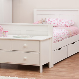 Classic White Single Bed for Kids, by Stompa with Underbed Drawers